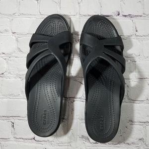 Croc strappy wedge sandals